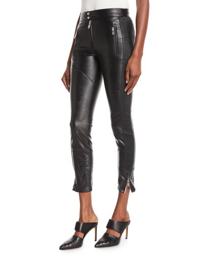Zaperry Cropped Faux-Leather Skinny Trousers