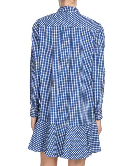 Ondria Check-Print Flounce Shirt Dress