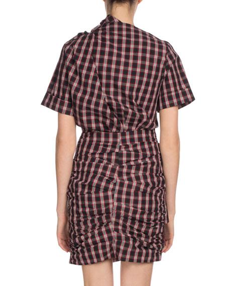 Oria Shirred Check-Print Dress