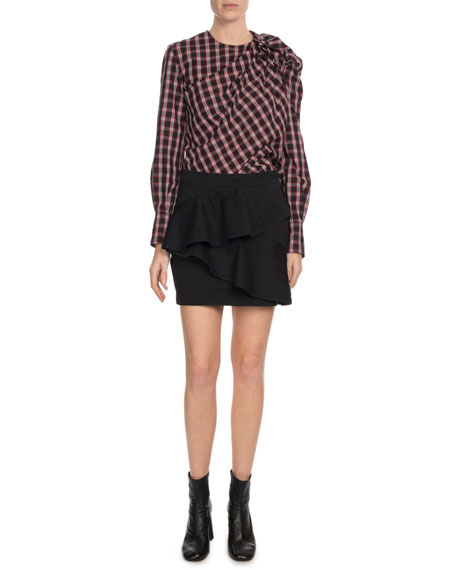 Olympe Shirred Check Cotton Blouse
