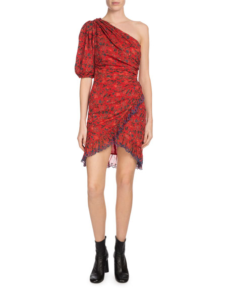 ETOILE ISABEL MARANT Esther One-Shoulder Embroidered Floral-Print Cotton Mini Dress in Red