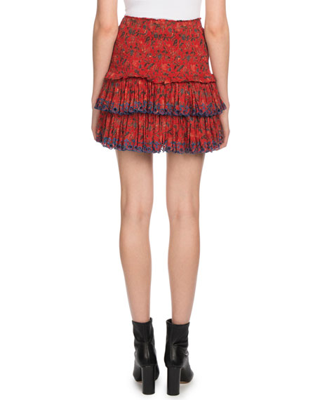 Naomi Floral Eyelet-Trim Mini Skirt