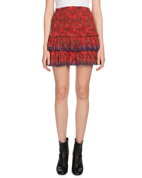 Isabel Marant Étoile - Naomi Floral Print Mini Skirt - Womens - Red Multi