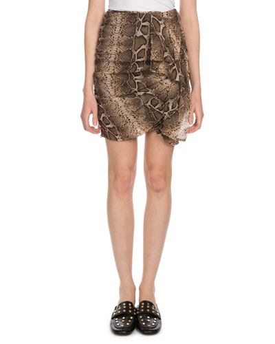 Jerine Shirred Snake-Print Mini Skirt