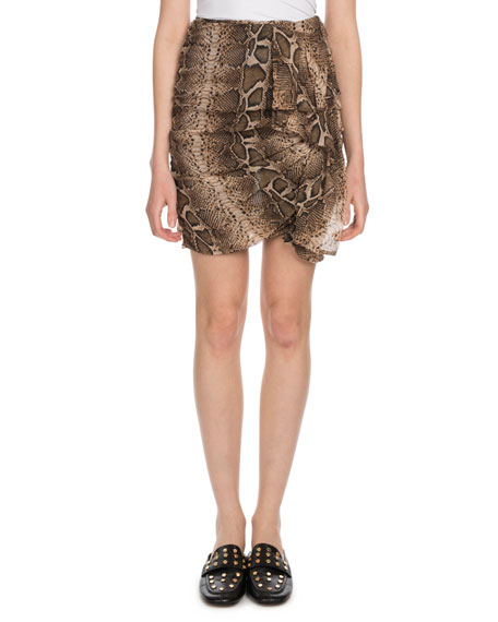 Jerine Shirred Snake-Print Mini Skirt