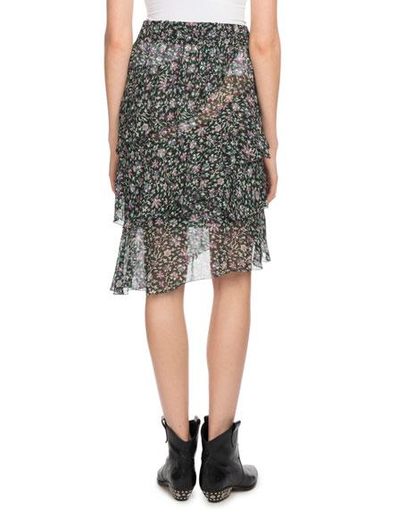 Jeezon Floral-Print Asymmetric Skirt