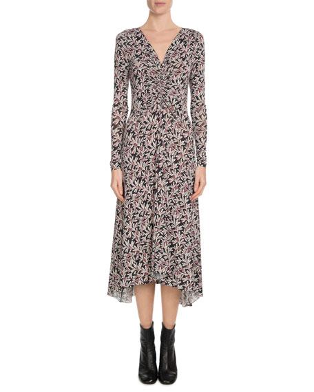 Tova Floral-Print Stretch-Jersey Midi Dress, Pink/Black