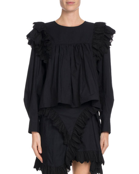 Etoile Isabel Marant Matias Cropped Ruffle-Trim Cotton Top