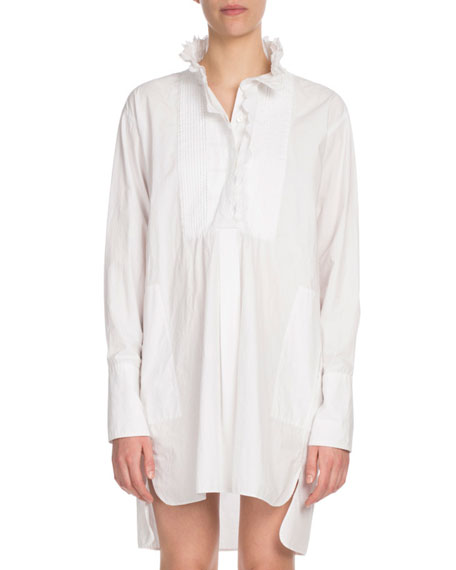 Milena Ruffle High-Neck Cotton Shirt Dress