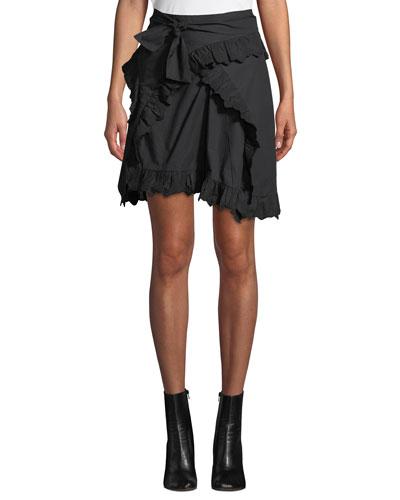 Milou Embroidered Flounce Wrap Skirt
