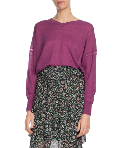 Field V-Neck Side-Split Pullover Sweater