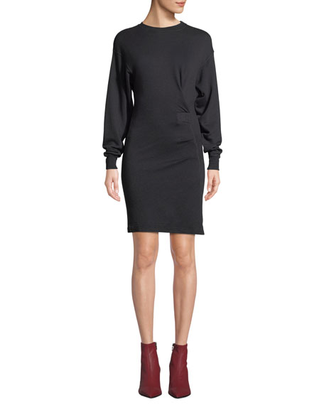 Etoile Isabel Marant Fewlyn Gathered Long-Sleeve Short Dress