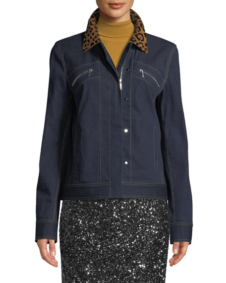 Kesha Denim Jacket w/ Leopard Collar