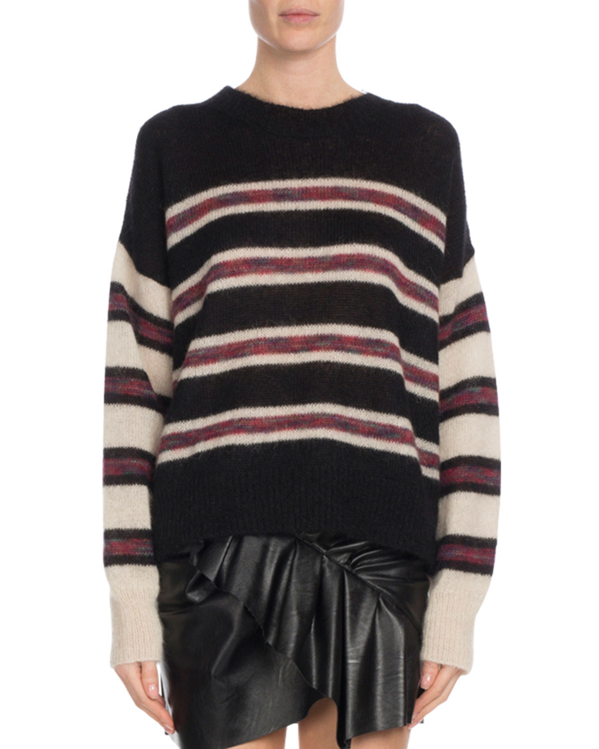 Etoile Isabel Marant Russell Striped Mohair Pullover Sweater ... d6f089a59a5