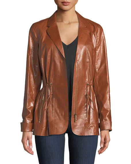 Lafayette 148 New York Porsha Lacquered Lamb Leather