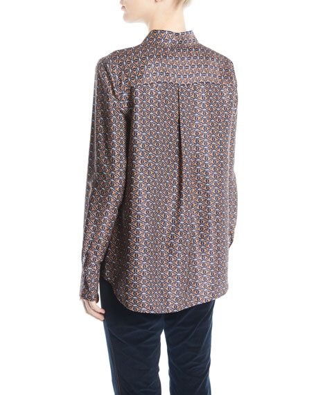Scottie Globetrotter Triangle Silk Jacquard Blouse