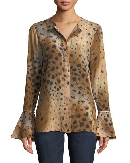 Lafayette 148 New York Izzie Agave Leopard-Print Silk
