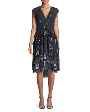 b1462452745 Joie Kiersten Printed Silk Ruffle Dress