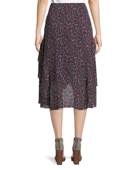 Brigida Tiered Silk High-Low Skirt