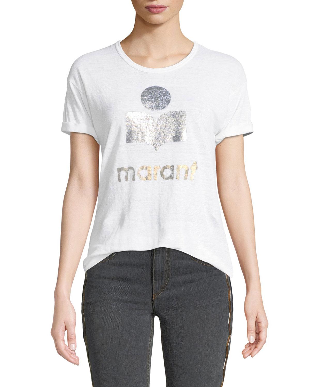 611aec1da3d9d Etoile Isabel Marant Koldi Metallic Logo Linen Tee
