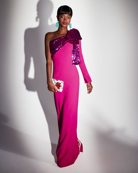 Rina One-Shoulder Gown w/ Sequin Bow