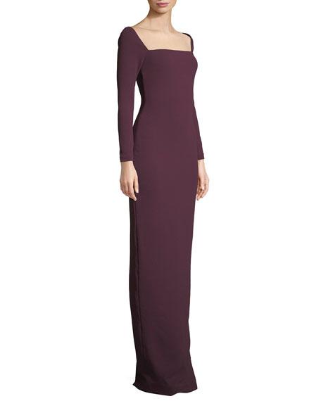 Lolita Bateau-Neck Long-Sleeve Column Evening Gown