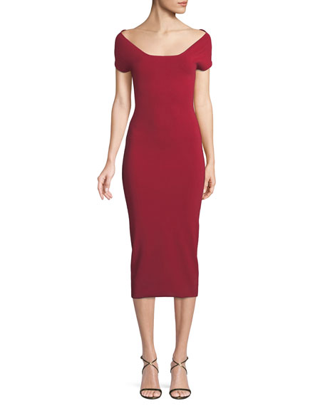 SOLACE LONDON The Ceirra Stretch-Knit Midi Dress in Red