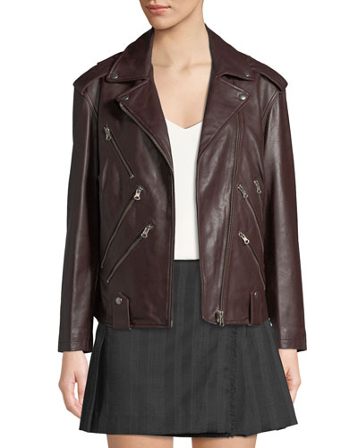 Zippers Leather Biker Jacket