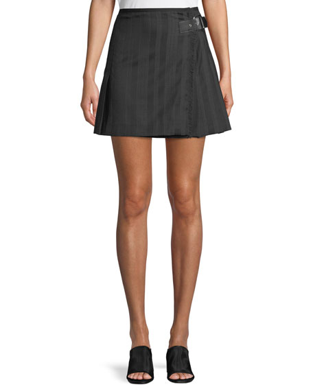 McQ Alexander McQueen Striped Wool Kilt Skirt w/