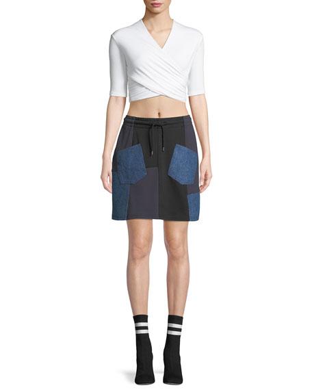Denim-Patch Drawstring Short Skirt