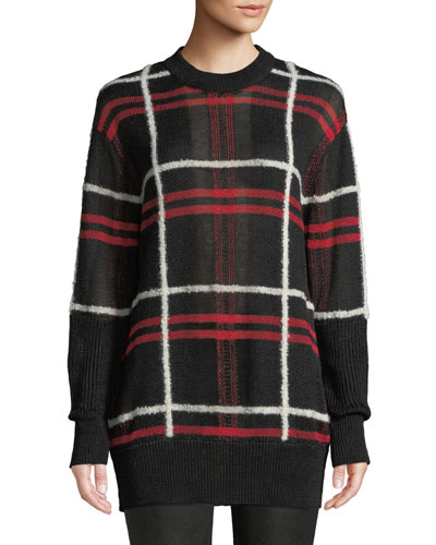 Patched Linen-Wool Blend Check Sweater