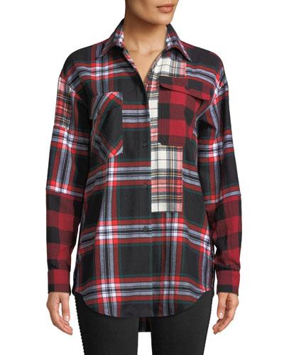 Patchwork Tartan-Check Button-Front Shirt
