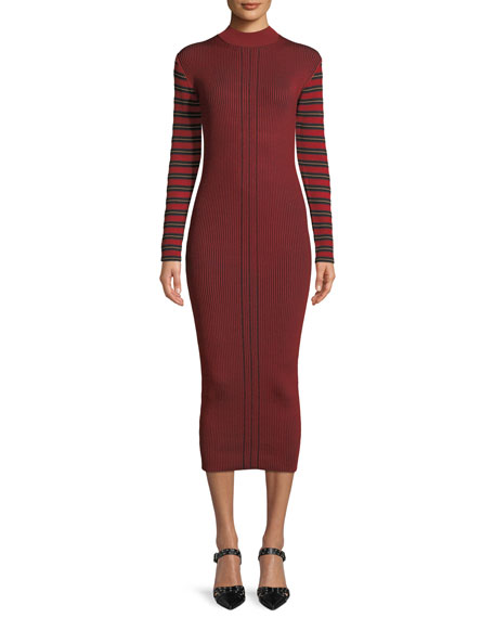 Ribbed Striped Long-Sleeve Midi Dress