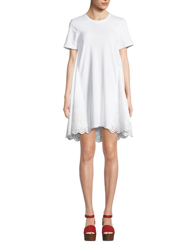 Ruffle Hybrid Eyelet Tee Dress