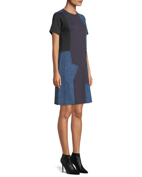 Denim Patch Short-Sleeve Tee Dress