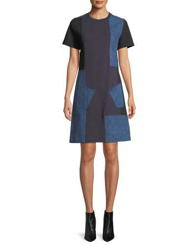 Denim Patch Short-Sleeve Tee Dress