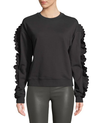 Ruffle-Sleeve Crewneck Cotton Sweatshirt