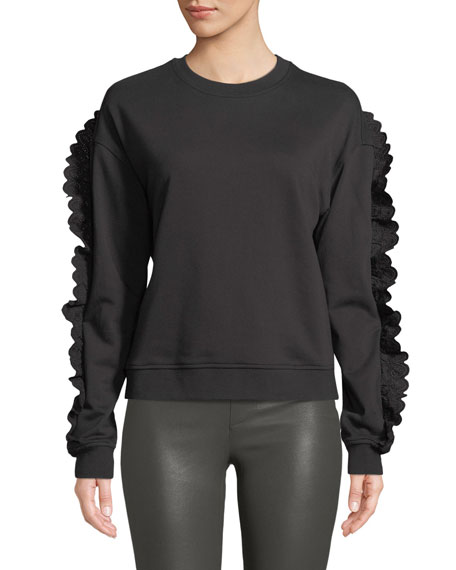 McQ Alexander McQueen Ruffle-Sleeve Crewneck Cotton Sweatshirt
