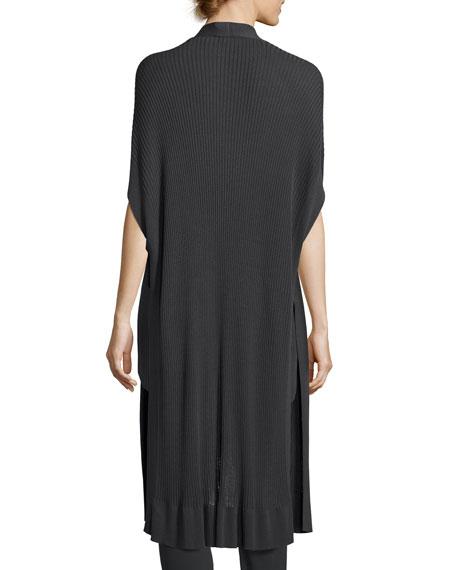 Long Sleek Tencel® Ribbed Kimono Cardigan