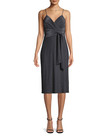 Halston Heritage Metallic Jersey Cami Dress