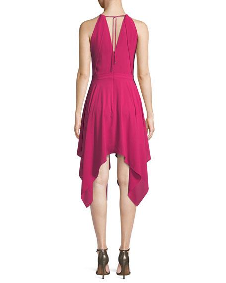 Beaded Handkerchief-Hem Halter Cocktail Dress