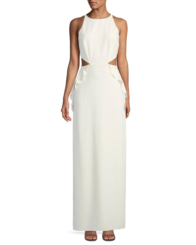 4b4bf48b0b2f Halston Heritage Sleeveless Ruffle Gown w  Cutout