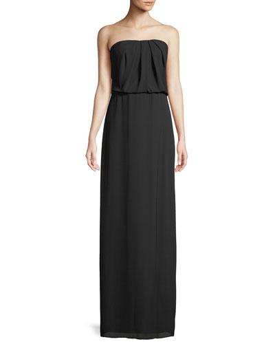 Strapless Flowy Drape-Back Gown