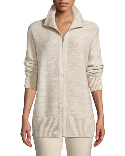 Relaxed Sequin  Italian Wool/Silk-Blend Zip-Up Cardigan