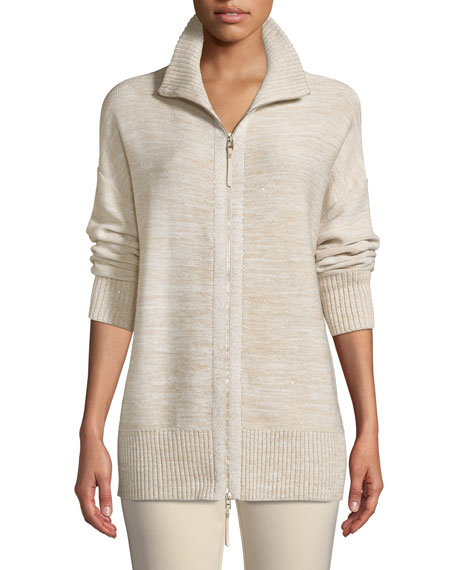 Relaxed Sequin  Italian Wool/Silk-Blend Zip-Up Cardigan