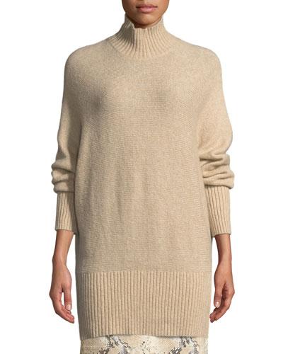 Brushed Cashmere-Silk Dolman Sweater