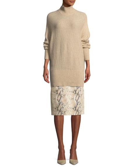 Casey Diamondback Snake-Print Suede Skirt