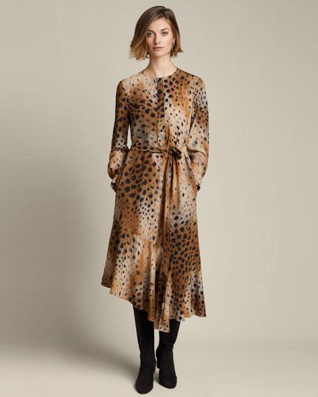 Delancy Agave Leopard-Print Silk Dress