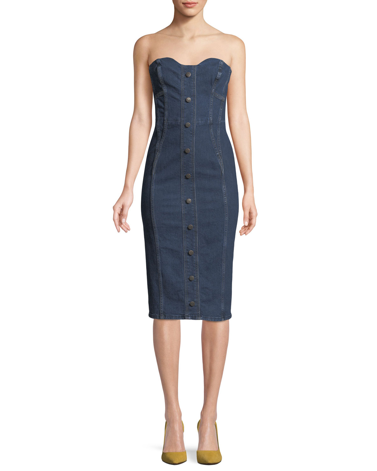 Veronica Beard Liza Strapless Sweetheart Denim Dress  f0f781806