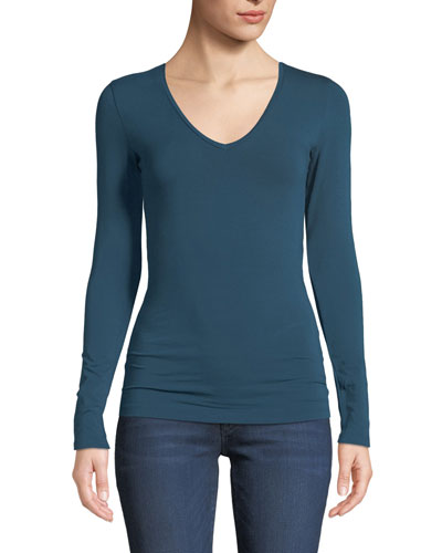 Amelie Soft Touch Long-Sleeve V-Neck Top